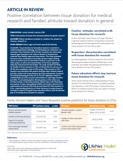 Brochure - Article in Review: Authorization of tissue from deceased patients for genetic research